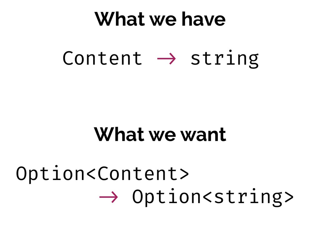 What we have What we want Content !-> string Op...