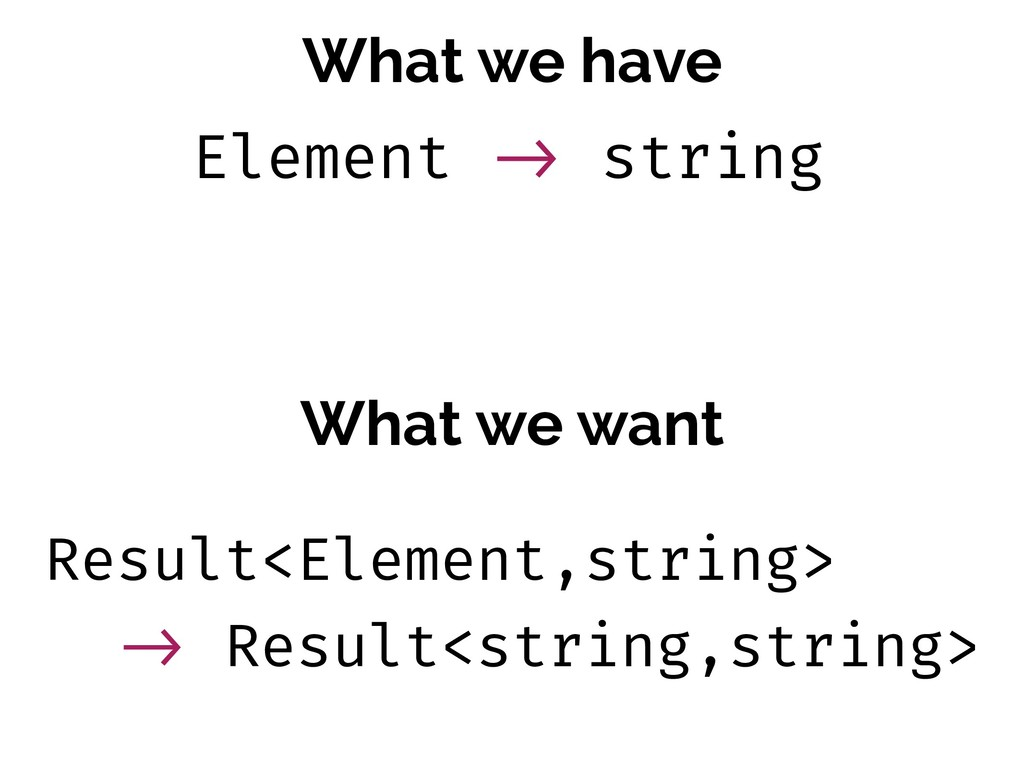 What we have What we want Result<Element,string...