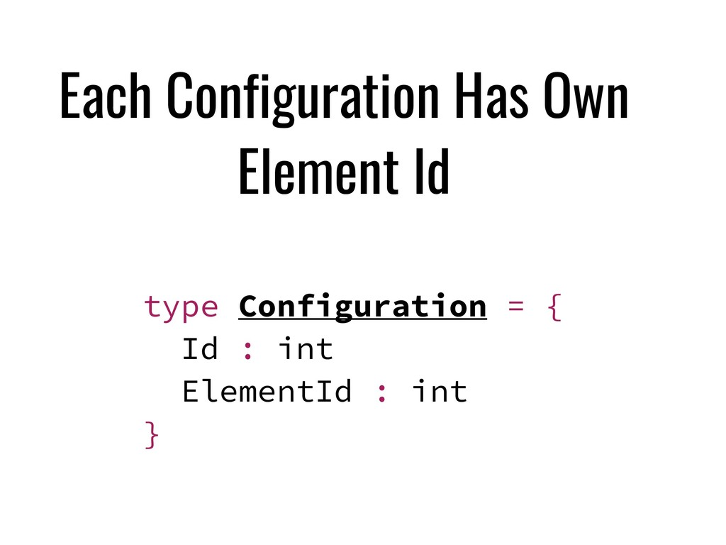 Each Configuration Has Own Element Id type Conf...