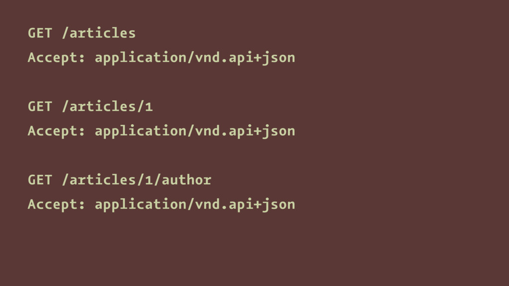 GET /articles Accept: application/vnd.api+json ...