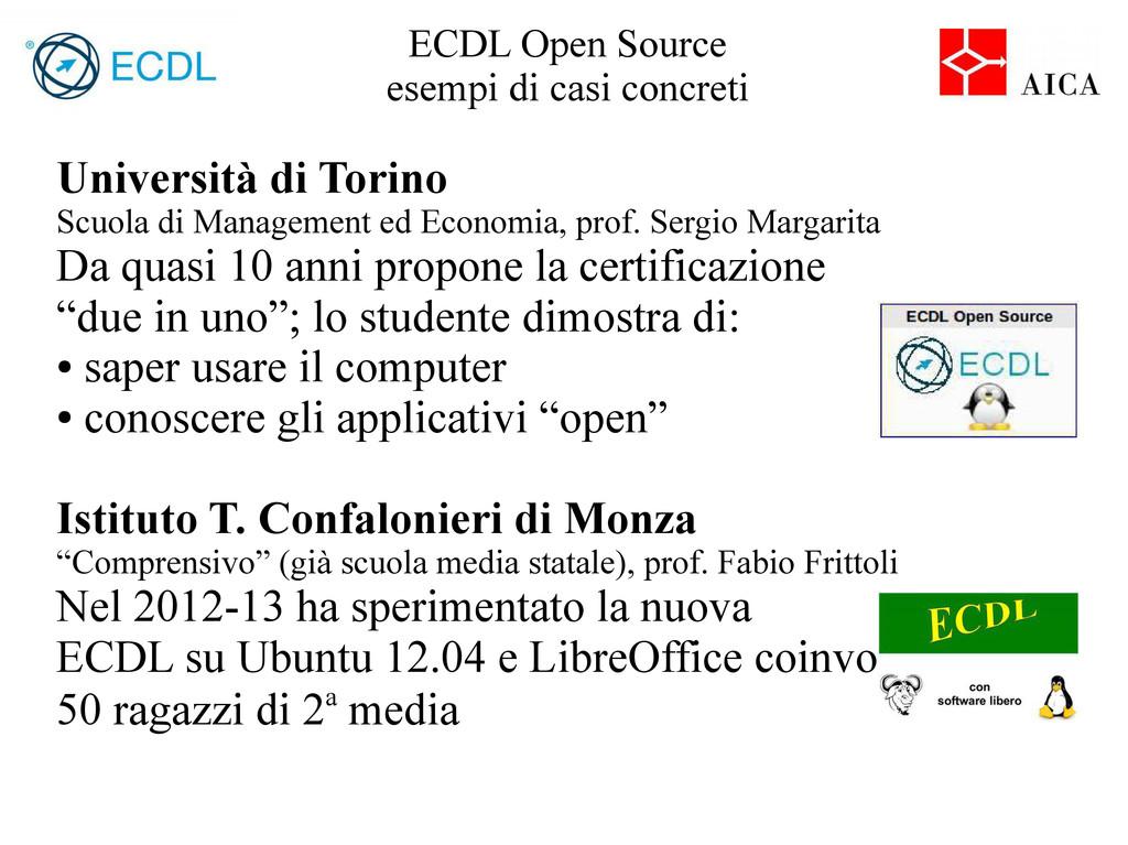 ECDL Open Source esempi di casi concreti Univer...