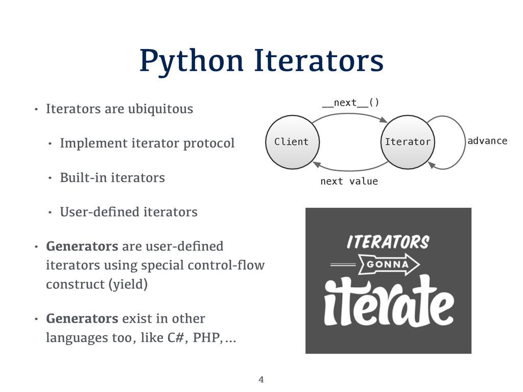 Python Iterators • Iterators are ubiquitous • I...
