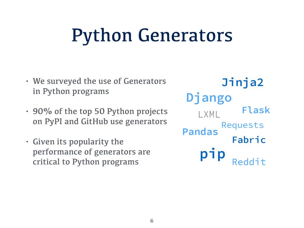 Python Generators 6 • We surveyed the use of Ge...