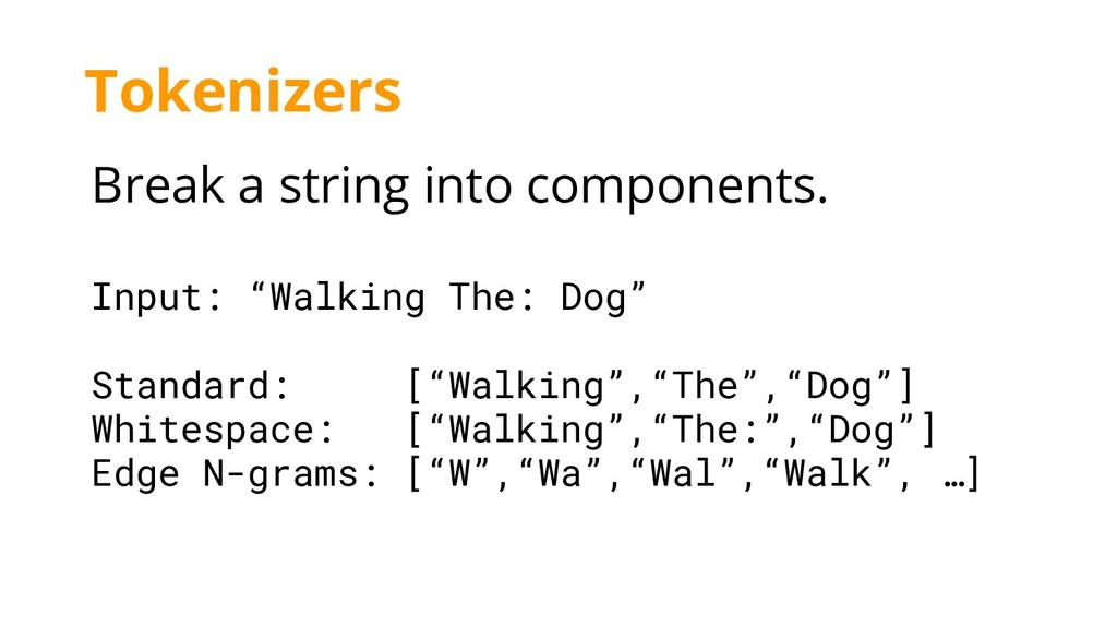"""Break a string into components. Input: """"Walking..."""