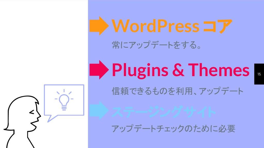 15 WordPress コア 常にアップデートをする。 ステージングサイト アップデートチェ...