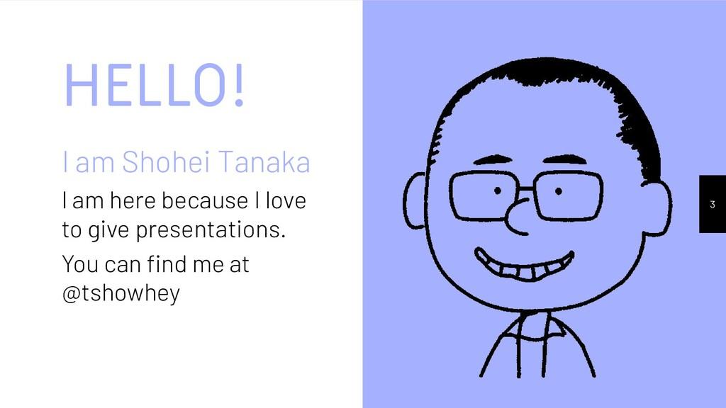 HELLO! I am Shohei Tanaka I am here because I l...