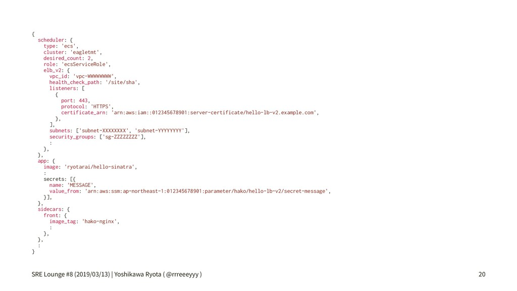 { scheduler: { type: 'ecs', cluster: 'eagletmt'...