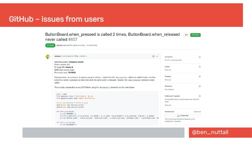 @ben_nuttall GitHub – issues from users