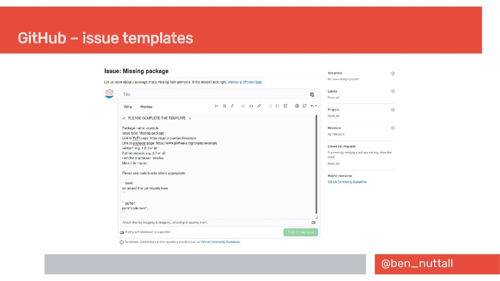@ben_nuttall GitHub – issue templates