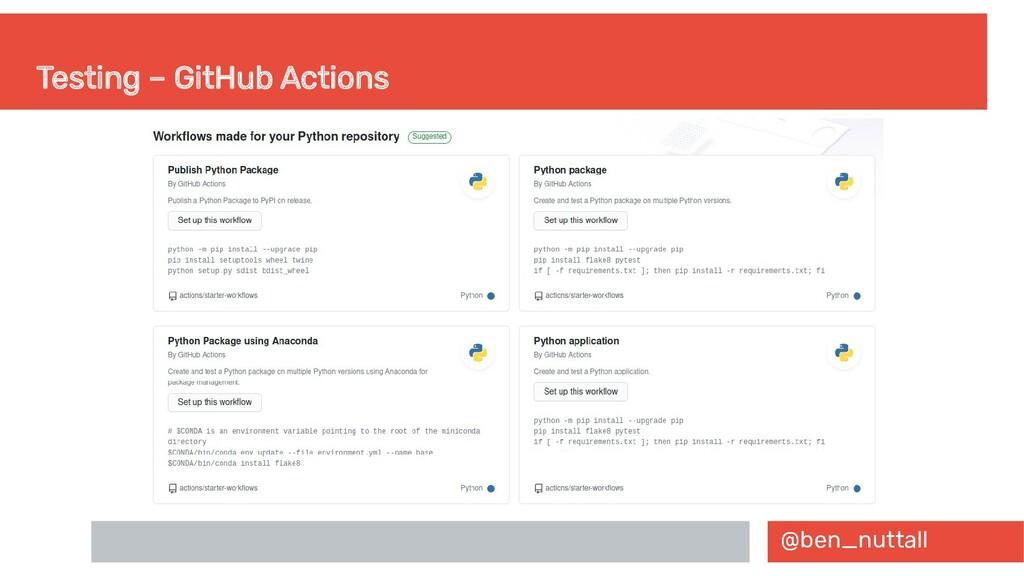 @ben_nuttall Testing – GitHub Actions
