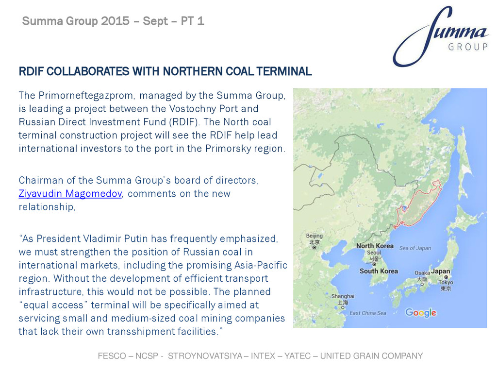 RDIF COLLABORATES WITH NORTHERN COAL TERMINAL T...