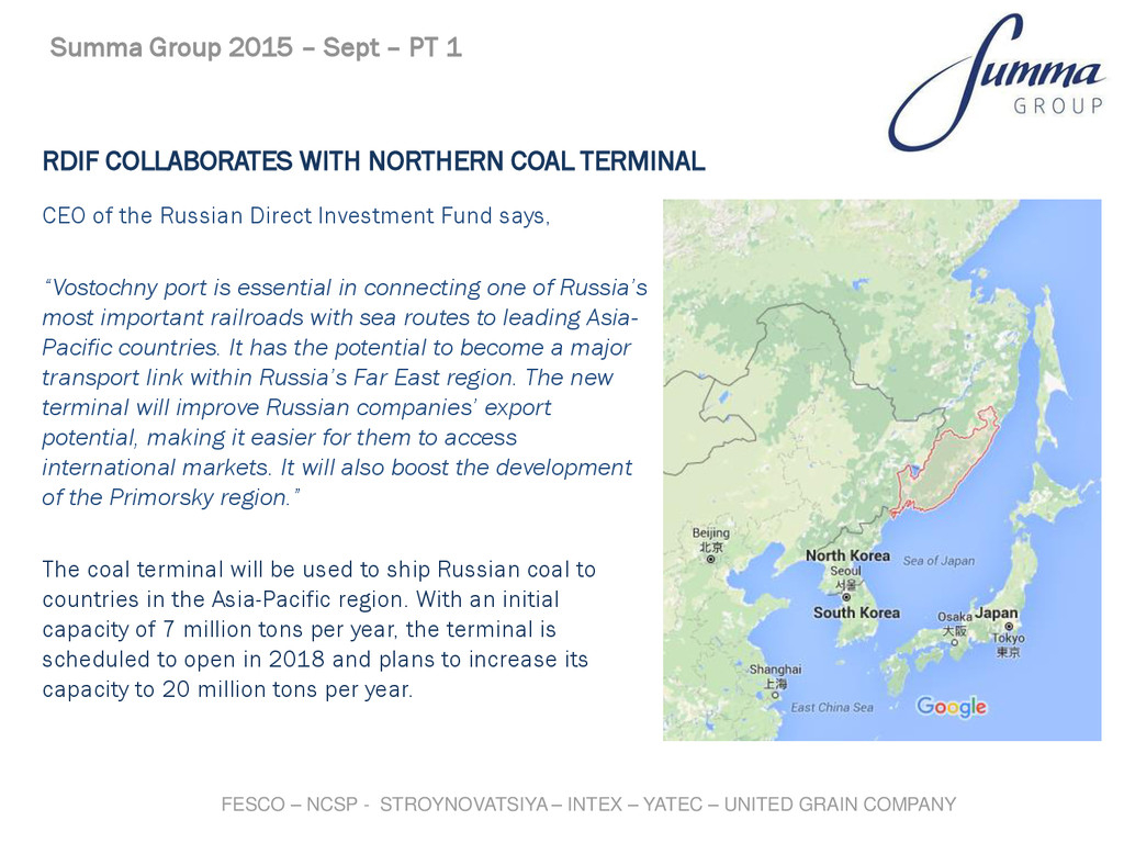 RDIF COLLABORATES WITH NORTHERN COAL TERMINAL C...
