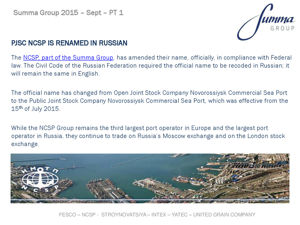 PJSC NCSP IS RENAMED IN RUSSIAN The NCSP, part ...