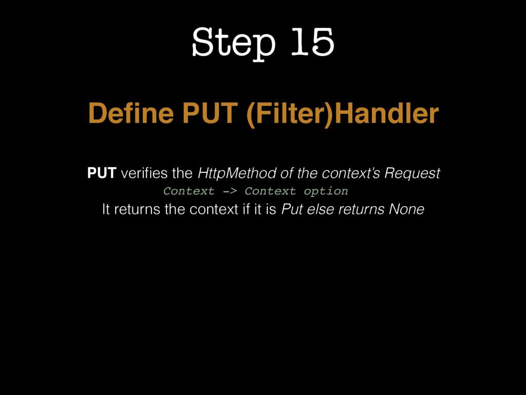 Step 15 Define PUT (Filter)Handler PUT verifies t...