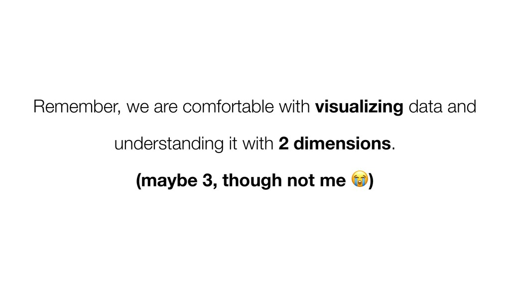 Remember, we are comfortable with visualizing d...