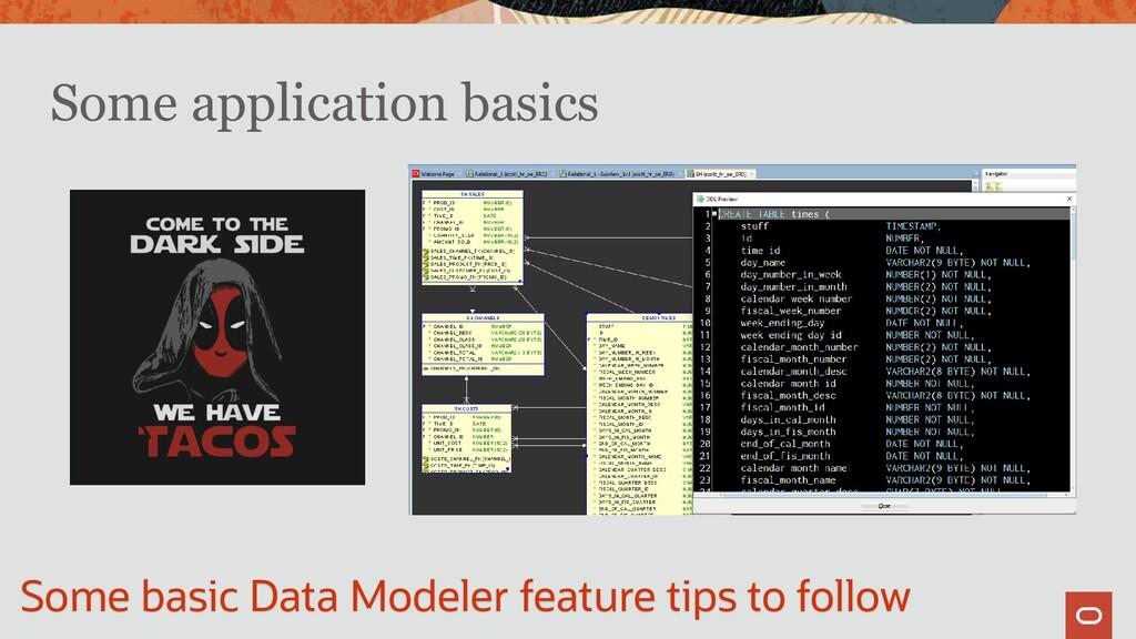 Some application basics Some basic Data Modeler...