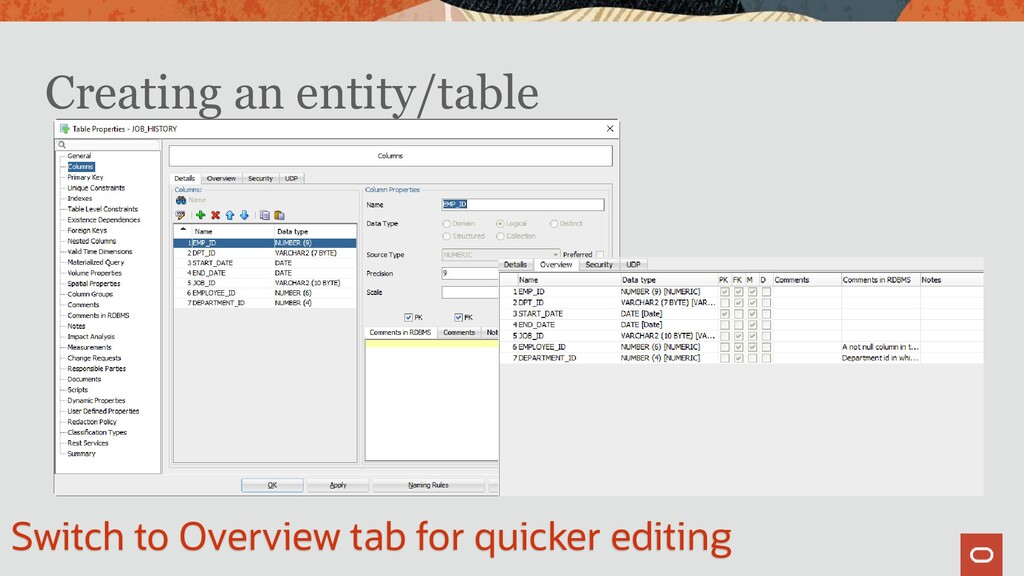 Creating an entity/table Switch to Overview tab...