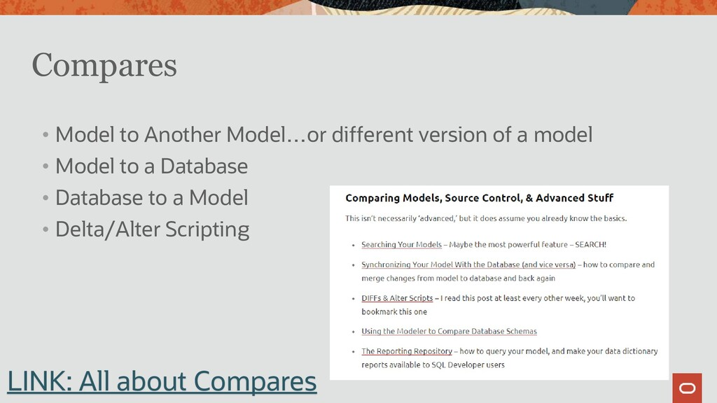 Compares • Model to Another Model…or different ...
