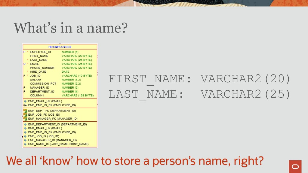 What's in a name? FIRST_NAME: VARCHAR2(20) LAST...