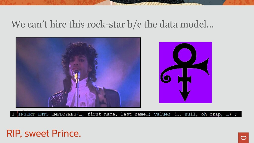 We can't hire this rock-star b/c the data model...
