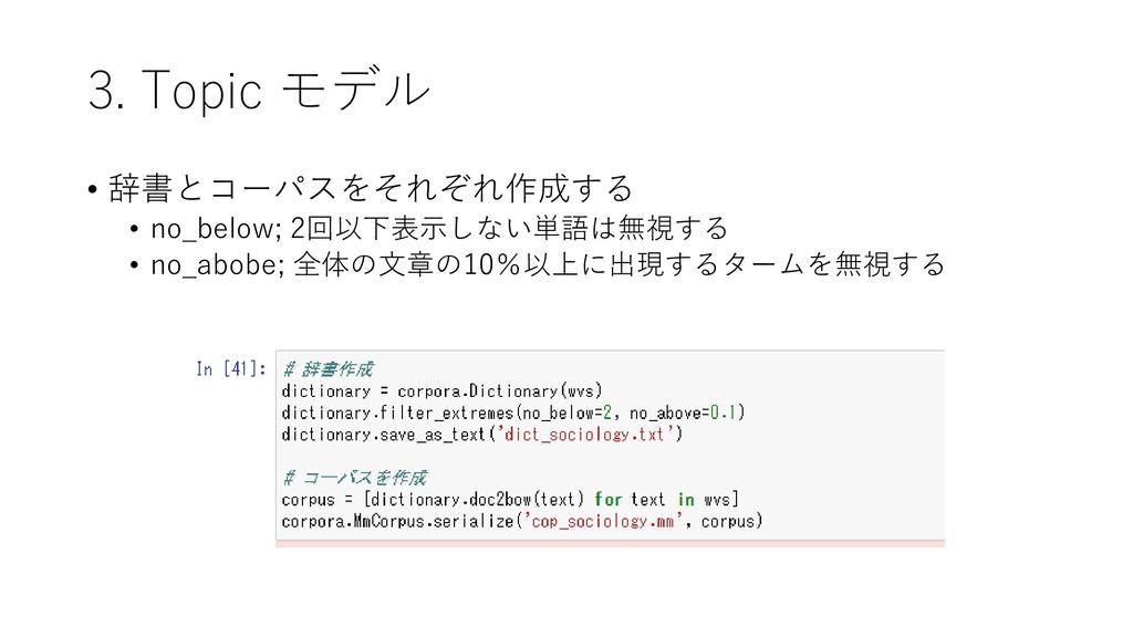 3. Topic モデル • 辞書とコーパスをそれぞれ作成する • no_below; 2回以...