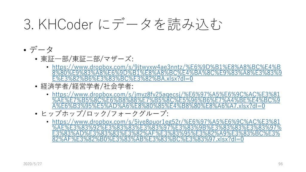 3. KHCoder にデータを読み込む • データ • 東証一部/東証二部/マザーズ: • ...