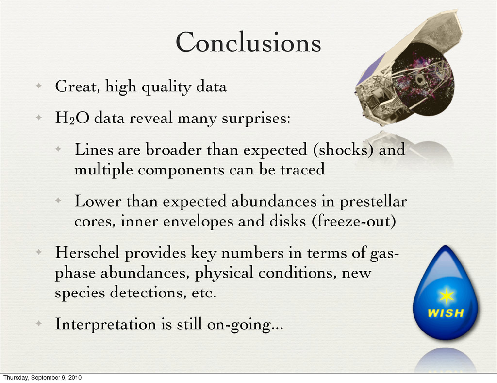 Conclusions ✦ Great, high quality data ✦ H2O da...