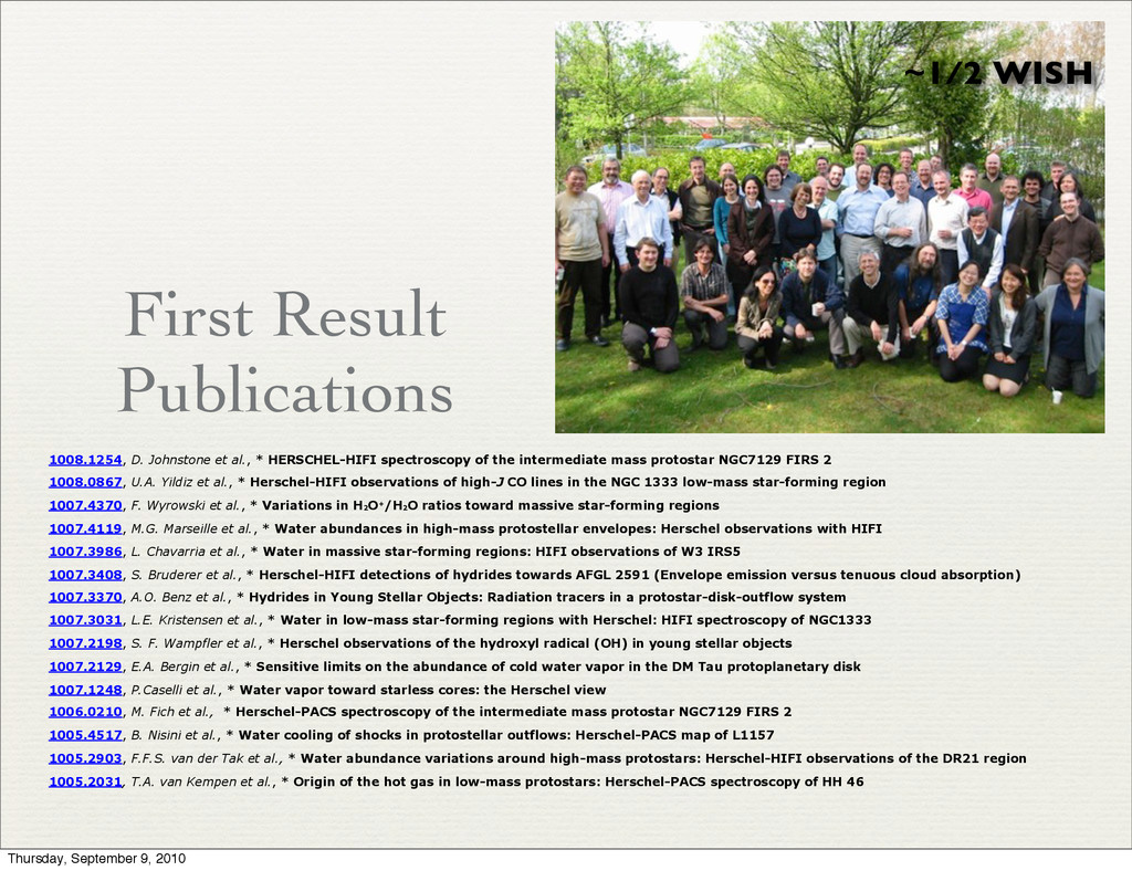 First Result Publications ~1/2 WISH 1008.1254, ...