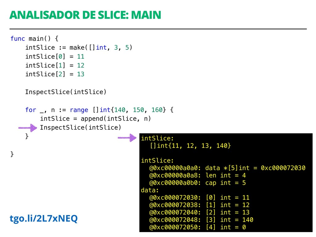 ANALISADOR DE SLICE: MAIN 50 intSlice: []int{11...