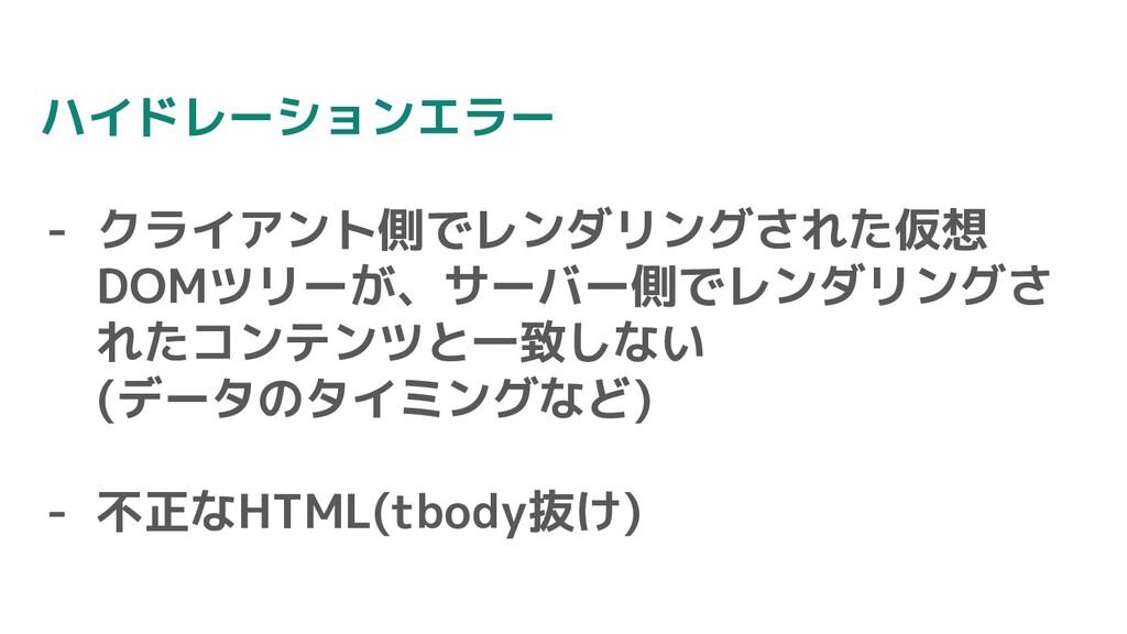 ハイドレーションエラー - クライアント側でレンダリングされた仮想 DOMツリーが、サーバー側...