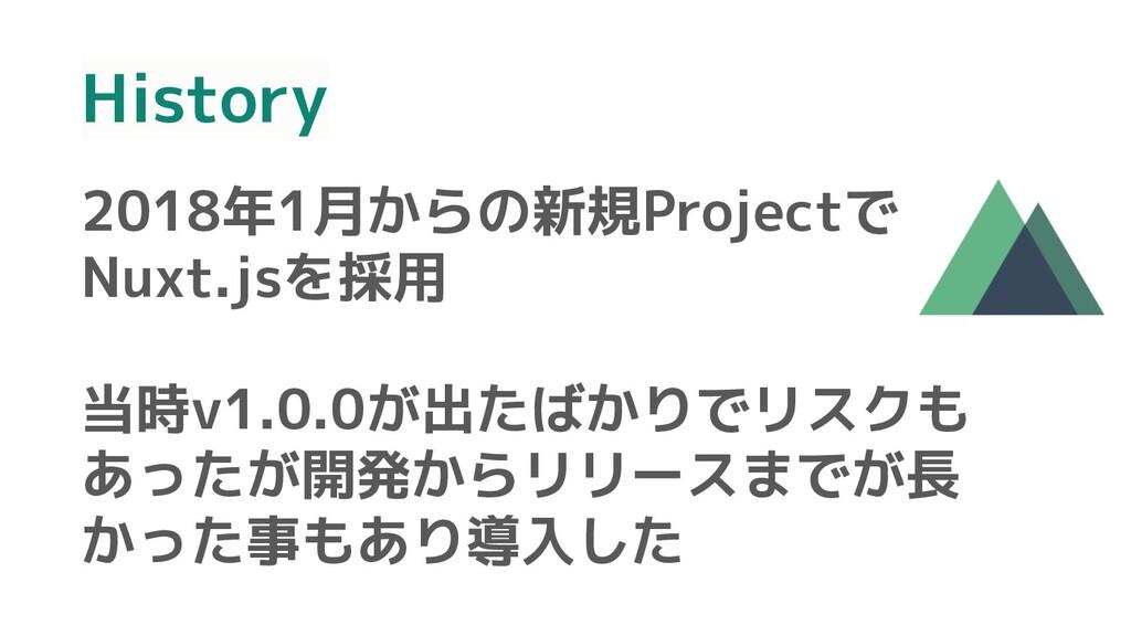 History 2018年1月からの新規Projectで Nuxt.jsを採用 当時v1.0....