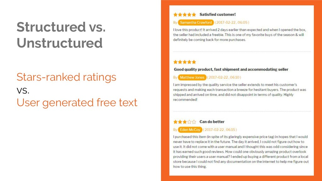 Structured vs. Unstructured Stars-ranked rating...