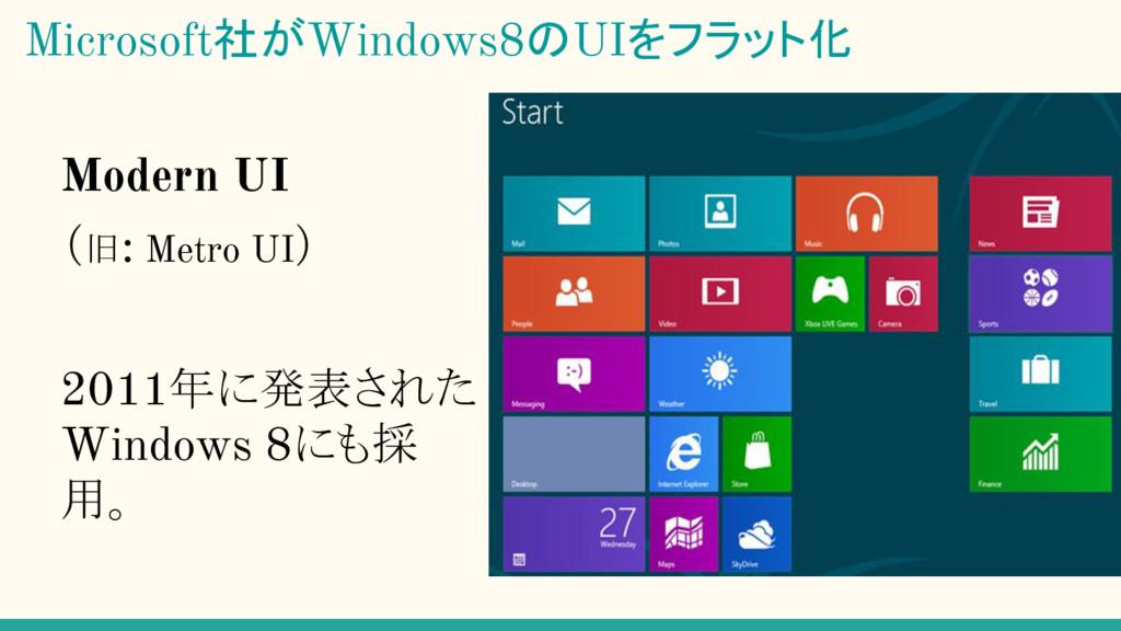 Modern UI (旧: Metro UI) 2011年に発表された Windows 8にも...