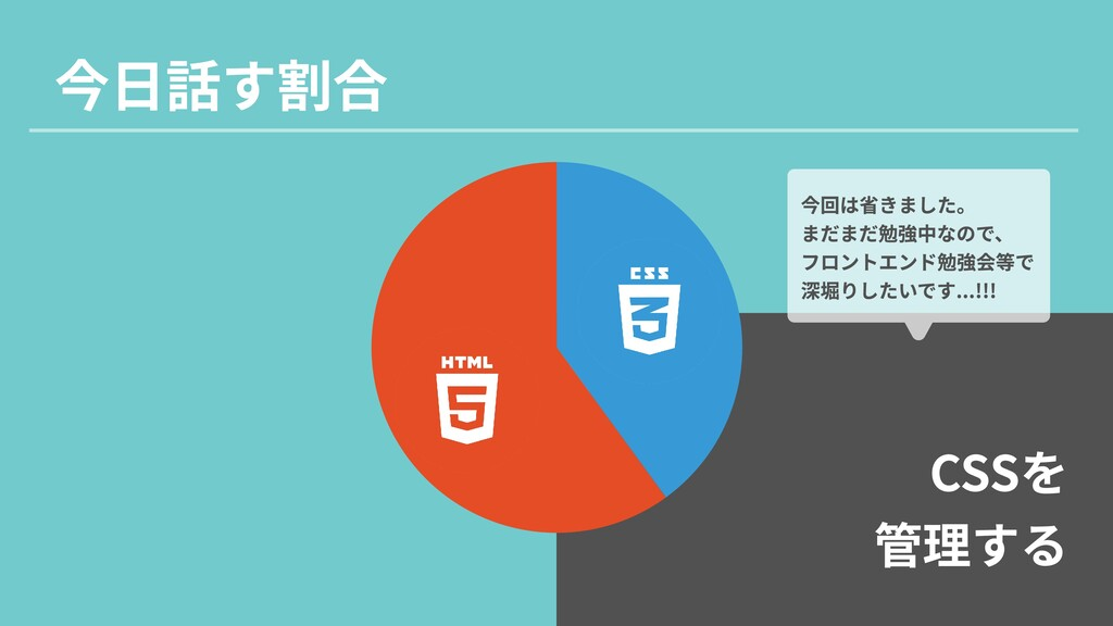 4 CSSを  管理する 今日話す割合 今回は省きました。  まだまだ勉強中なので、  フロン...