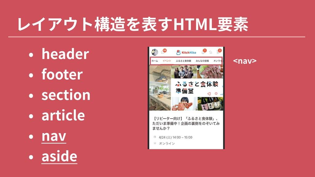レイアウト構造を表すHTML要素 3 heade! 3 foote! 3 sectio 3 ...