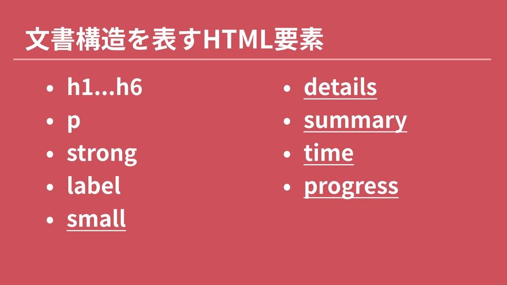 """文書構造を表すHTML要素 0 h1...h"""" 0 ! 0 stron% 0 labe 0 ..."""