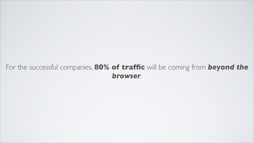 For the successful companies, 80% of traffic wil...