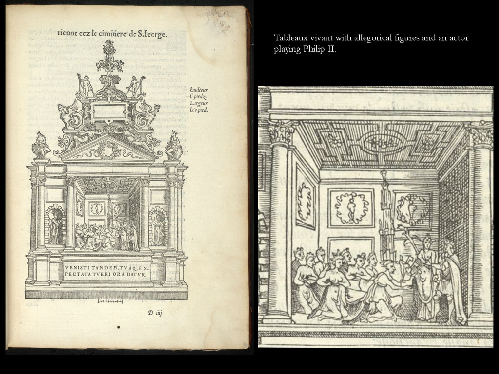 Tableaux vivant with allegorical figures and an...