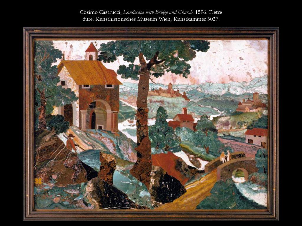 Cosimo Castrucci, Landscape with Bridge and Chu...