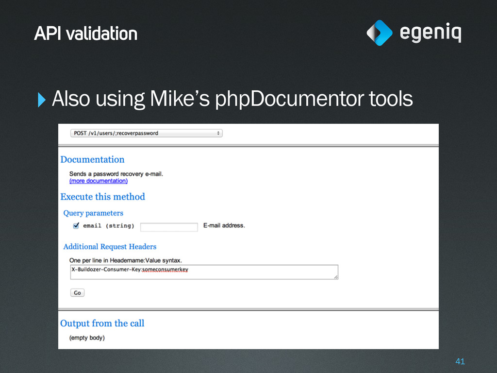 ‣Also using Mike's phpDocumentor tools API vali...
