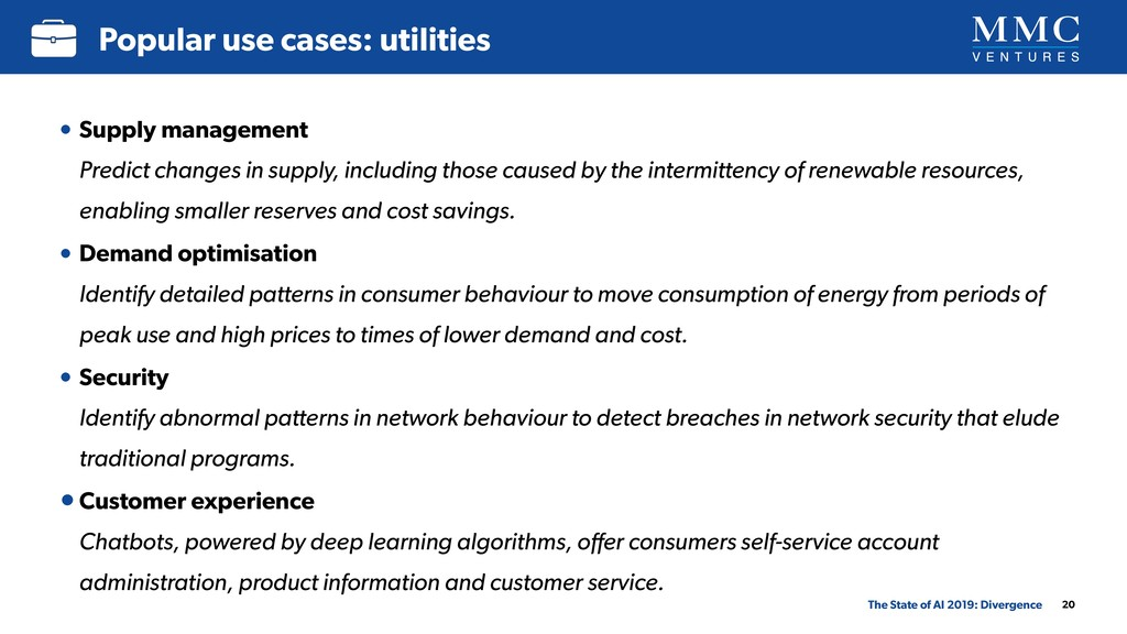20 Popular use cases: utilities The State of AI...