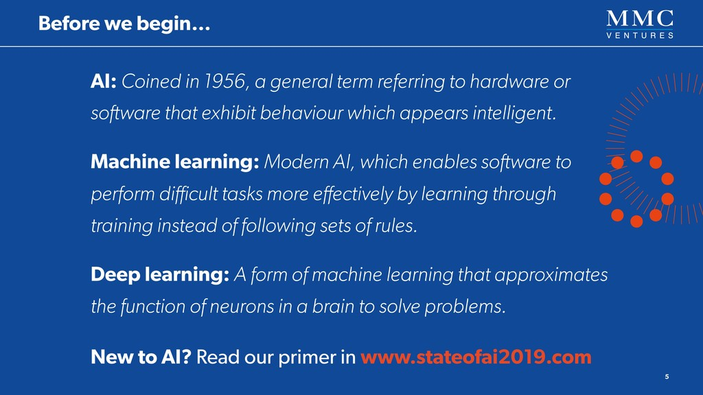AI: Coined in 1956, a general term referring to...