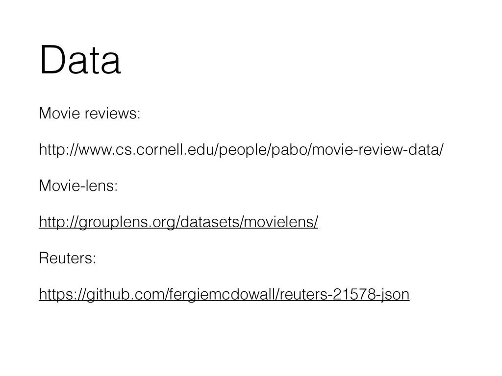 Data Movie reviews: http://www.cs.cornell.edu/p...