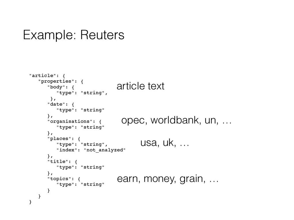 "Example: Reuters ! ""article"": {! ""properties"": ..."