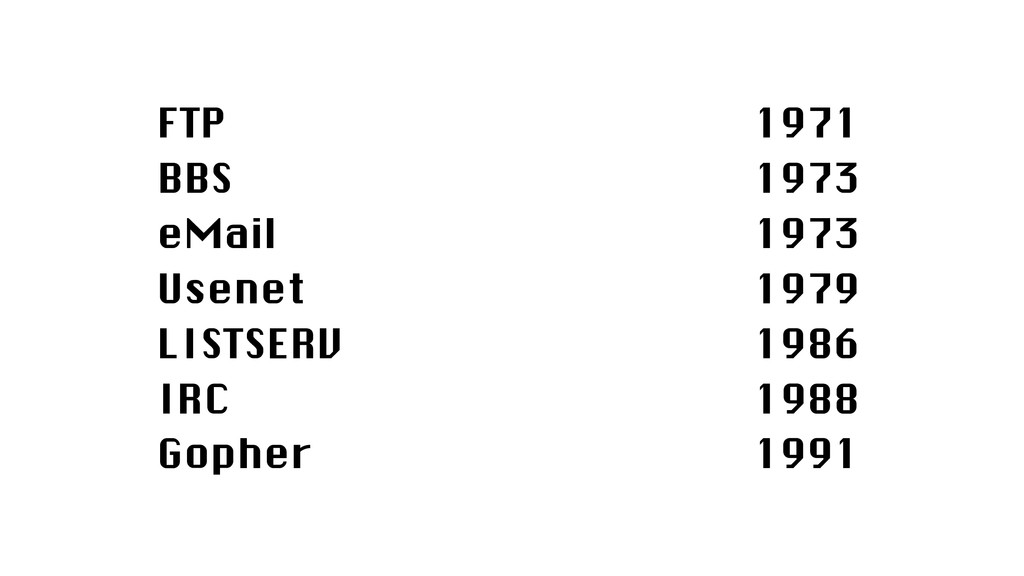FTP BBS eMail Usenet LISTSERV IRC Gopher 1971 1...