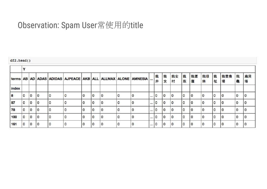 Observation: Spam User常使用的title