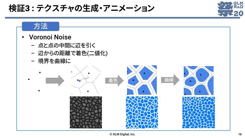 検証3 : テクスチャの生成・アニメーション • Voronoi Noise – 点と点の中間...