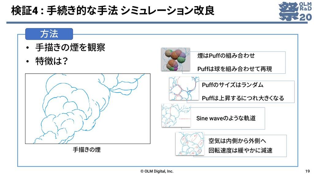 検証4 : 手続き的な手法 シミュレーション改良 • 手描きの煙を観察 • 特徴は? © OL...