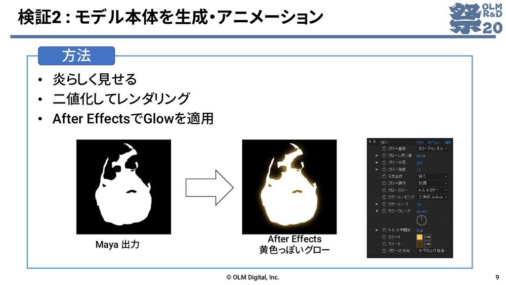 方法 検証2 : モデル本体を生成・アニメーション • 炎らしく見せる • 二値化してレンダリ...