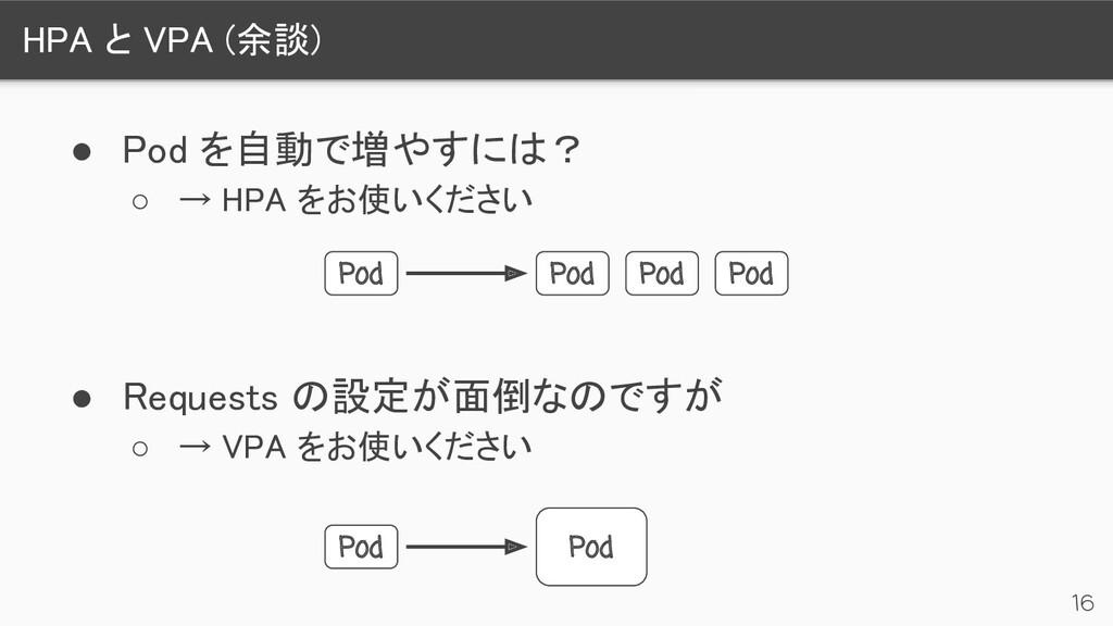 HPA と VPA (余談) 16 ● Pod を自動で増やすには? ○ → HPA をお...